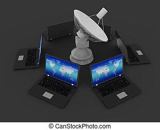 satellite, rendu, communication, concept., global, laptop., illustration, plat, 3d