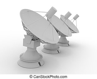satellite, rendu, science, .3d, illustration, concept, plat, 3d