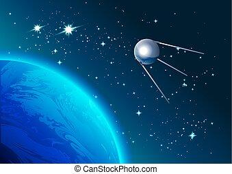 satellite, retro, espace