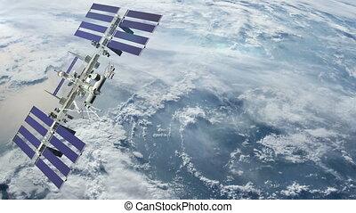 Satellite revolving over earth