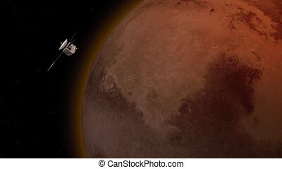 Satellite revolving over mars atmosphere