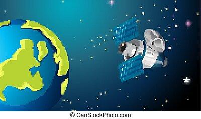 satellite, scène, espace