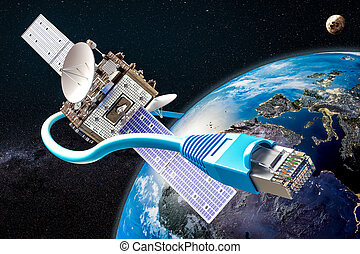 satellite, service, concept, global, rendre, internet, 3d