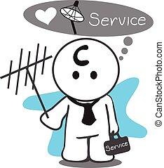 Satellite service man