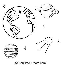 satellite, set, volo, spazio, isolato, mano, fondo, stelle, pianeti, disegnato, bianco, doodles, doodles