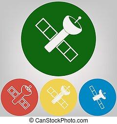 Satellite sign illustration. Vector. 4 white styles of icon...