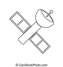 Satellite sign illustration. Vector. Black dashed icon on white background. Isolated.