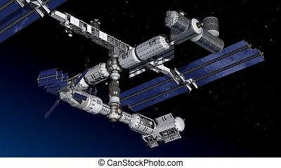 Satellite Spacestation flying