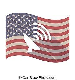 satellite, stati uniti, lungo, bandiera, piatto, pietanza, uggia