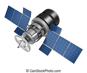 satellite - 3d illustration of space satellite over white...