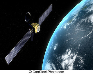 satellite - 3d rendered illustration of a satelilte flying...
