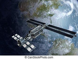 Satellite surveilling Earth