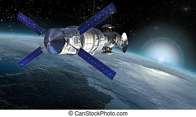 Satellite surveying Earth, spacelab or spacecraft design for...