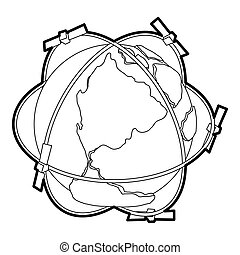 Satellite system around Earth icon, outline style