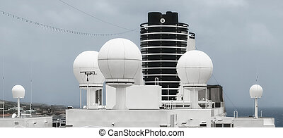 Satellite System On Top Of A Ship