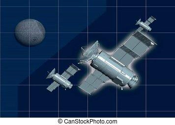satellite, technologie, univers