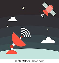satellite technology concept, flat design vector