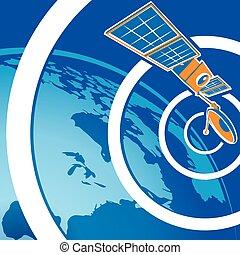 satellite telecommunications - Stylized vector illustration ...