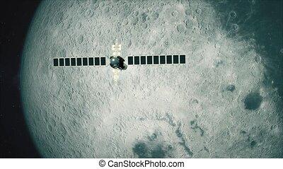 Satellite Telescope Passes Moon - Cinematic animation of a...