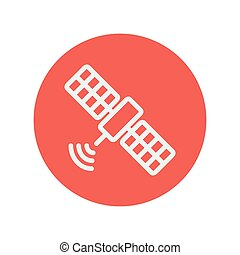 Satellite thin line icon for web and mobile minimalistic ...