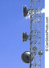 Satellite transmission dish against blue sky