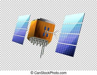 satellite, transparent, fond