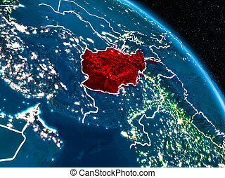 Satellite view of Afghanistan at night - Satellite view of ...