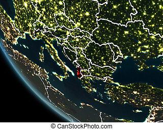 Satellite view of Albania at night - Satellite view of...