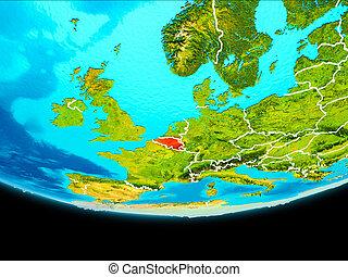 Satellite view of Belgium - Belgium from orbit of planet ...