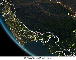 Satellite view of Bhutan at night - Satellite view of Bhutan...