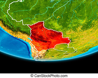 Satellite view of Bolivia - Bolivia from orbit of planet...