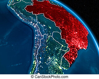 Satellite view of Brazil at night - Satellite view of Brazil...