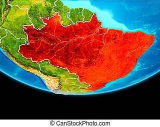 Satellite view of Brazil - Brazil from orbit of planet Earth...
