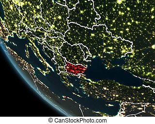 Satellite view of Bulgaria at night - Satellite view of...