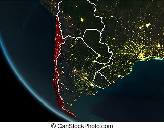 Satellite view of Chile at night - Satellite view of Chile...