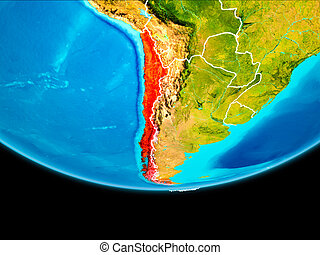 Satellite view of Chile - Chile from orbit of planet Earth...