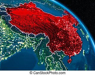 Satellite view of China at night - Satellite view of China...