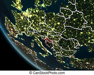 Satellite view of Croatia at night - Satellite view of...