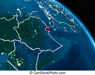 Satellite view of Djibouti at night - Satellite view of...