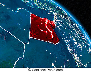 Satellite view of Egypt at night - Satellite view of Egypt...