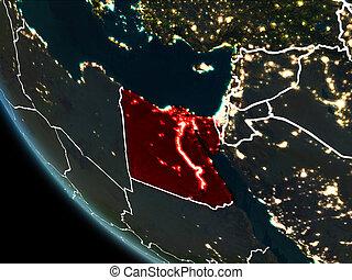 Satellite view of Egypt at night - Satellite view of Egypt...