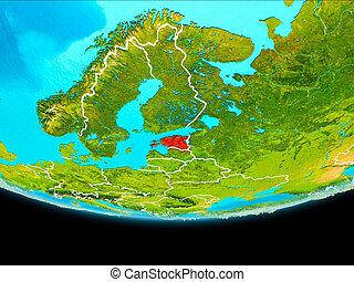 Satellite view of Estonia - Estonia from orbit of planet...