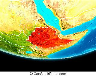 Satellite view of Ethiopia - Ethiopia from orbit of planet...