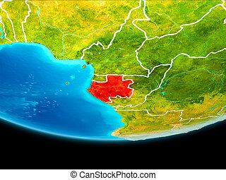 Satellite view of Gabon - Gabon from orbit of planet Earth...
