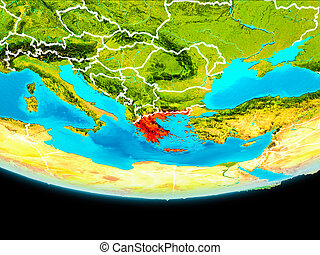 Satellite view of Greece - Greece from orbit of planet Earth...