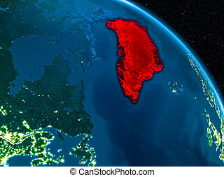 Satellite view of Greenland at night - Satellite view of...