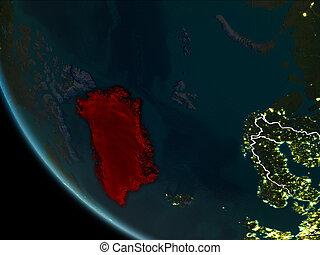 Satellite view of Greenland at night - Satellite view of...