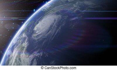Satellite View of Hurricane - View from space, approaching a...