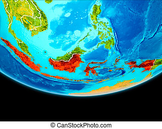 Satellite view of Indonesia - Indonesia from orbit of planet...