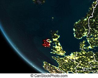 Satellite view of Ireland at night - Satellite view of...